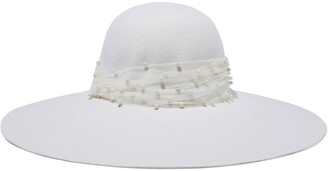 Eugenia Kim Bunny Faux Pearl-embellished Tulle-trimmed Wool-felt Hat