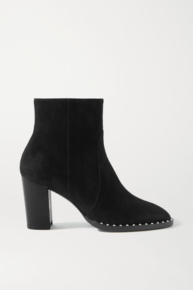 Stuart Weitzman Kailee Faux Pearl-embellished Suede Ankle Boots - Black