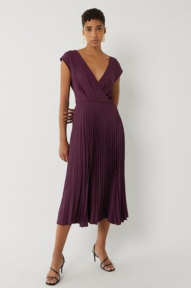 Warehouse COWL BACK PLEATED MIDI DRESS