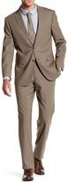 Vince Camuto Taupe Sharkskin Two Button Notch Lapel Trim Fit Suit
