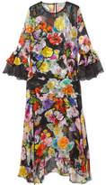 Preen by Thornton Bregazzi Madeleine Devoré Silk-blend Chiffon Midi Dress - Black