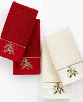Lenox Bath Towels, Ribbon and Holly Boxed Fingertip Towel Set