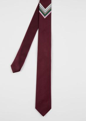 Paul Smith Men's Burgundy Silk Tie With Chevron Stripes