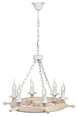 Marine Rustic Adjustable Candle - Style Chandelier Ceiling Lamp White/Cream Wooden Frame excl. 6 Bulbs x E14 60W