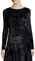 Fuzzi Long-Sleeve Crewneck Paisley Velvet Top, Black