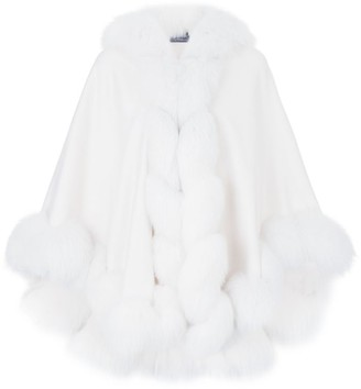 Harrods Fur-Trimmed Cashmere Cape With Hood