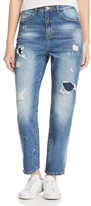 Karen Kane Distressed High Rise Girlfriend Jeans in Denim