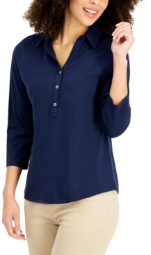 Charter Club Petite Petite Cotton Polo Top, Created for Macy's