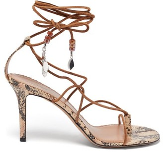 Isabel Marant Askee Bead-embellished Rope And Leather Sandals - Tan