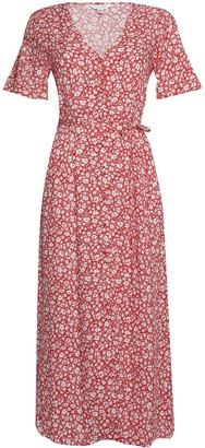 Miss Selfridge Red Ditsy Print Pintuck Midi Dress