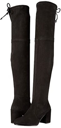 Stuart Weitzman Tieland Over the Knee Boot (Black Suede) Women's Shoes