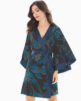 Soma Intimates Chiffon Kimono Robe Abstract Lines Black