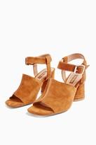 Topshop Womens Nesa Tan Stitch Flare Heels - Tan