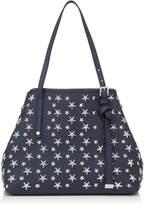Jimmy Choo SASHA M Navy Pearlized Leather Tote Bag with Stars