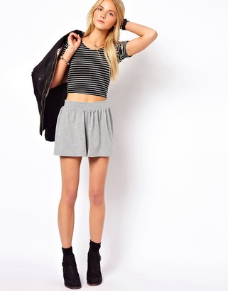 Asos Design Culotte Shorts In Grey Marl