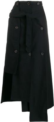 Rokh asymmetric buttoned skirt