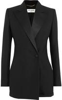 Saint Laurent Satin-trimmed Wool And Mohair-blend Playsuit - Black