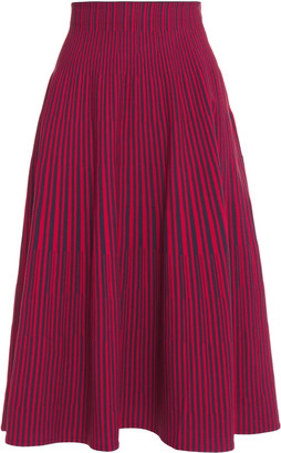 Cédric Charlier Flared Striped Stretch-knit Midi Skirt