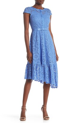 Nanette Lepore Mandarin Collar Cap Sleeve Lace Dress