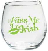 "Kate Aspen Set of 4) Stemless Wine Glass 15oz with ""Kiss Me I'm Irish"" Green Design"