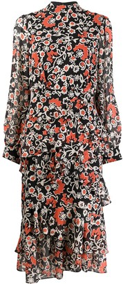 Saloni starfruit-print frilled dress
