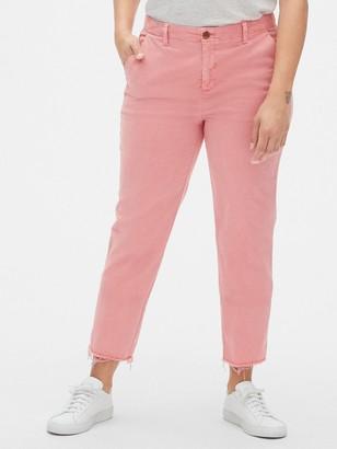 Gap Girlfriend Twill Stripe Chino Pants with Raw Hem