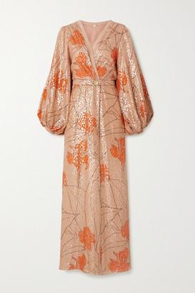 Johanna Ortiz + Net Sustain Bella Illusion Belted Printed Fil Coupe Silk-blend Maxi Dress - Blush