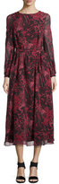 IRO Aby Floral-Print Silk V-Back Midi Dress, Black/Red
