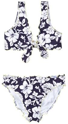 Hobie Kids Aloha Ruffle Bralette Top Ruffle Hipster Bottoms Set (Big Kids) (Navy) Girl's Swimwear Sets