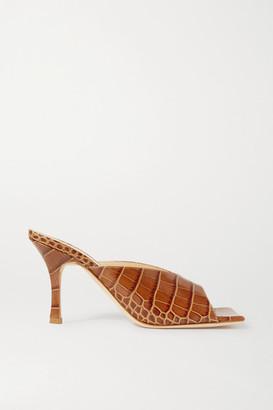 A.W.A.K.E. Mode Evening Marion Croc-effect Leather Mules - Tan