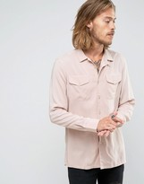 Asos Regular Fit Viscose Shirt In Dusty Pink With Double Pockets