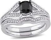 MODERN BRIDE Midnight Black Diamond 1 1/4 CT. T.W. Color-Enhanced Black & White Diamond 10K White Gold Bridal Set