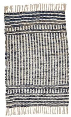 Imagine Home Hudson Striped Handmade Flatweave Wool Beige/Blue Area Rug Rug Size: Rectangle 5' x 8'