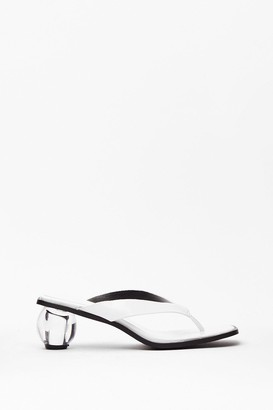 Nasty Gal Womens Play Ball Thong Clear Heels - White - 3