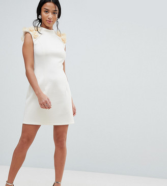 Asos 3D Flower Shoulder Mini Shift Dress-Cream