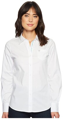 Ariat Kirby Stretch Shirt (White) Women's Long Sleeve Button Up