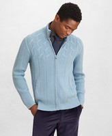 Brooks Brothers Golden Fleece Cashmere Zip-Up Cable-Knit Sweater