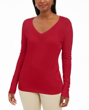 JM Collection Button-Cuff V-Neck Pullover Sweater, Created for Macy's
