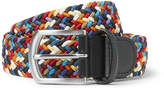 Andersons Anderson's - 3cm Leather-Trimmed Woven Elastic Belt