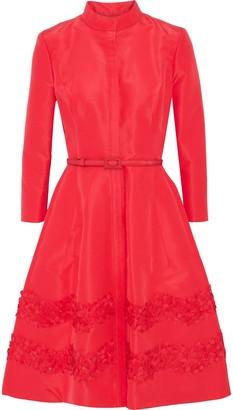 Carolina Herrera Belted Embellished Silk-faille Dress