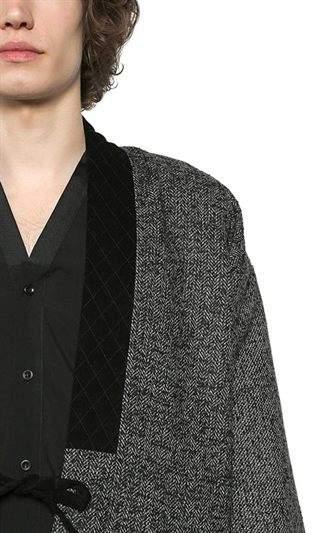 The Kooples Wool Tweed Jacket W/ Velvet Collar