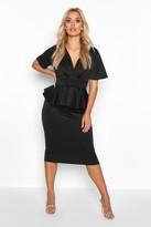 boohoo Plus Wrap Front Peplum Midi Dress