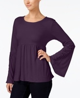Style&Co. Style & Co Style & Co Petite Lace-Trim Babydoll Top, Created for Macy's