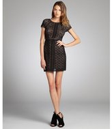 Max & Cleo black cotton blend lace 'Chloe' cap sleeve dress