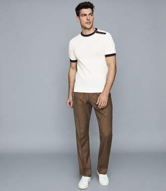 Reiss HARDY CREW NECK TOP WITH POPPER DETAIL White