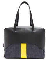 Tibi Papa leather and denim tote