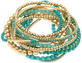 GUESS Gold-Tone 12-Pc. Set Blue Beaded and Cord Stretch Bracelets