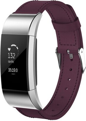 Posh Tech Large Leather Band for Fitbit Charge 2 - Purple
