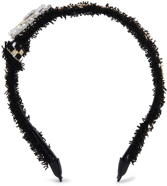 Venna Crystal Embellished Love Motif Lace Headband