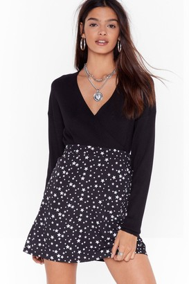 Nasty Gal Womens Bridge the Wrap Relaxed Ribbed Cardigan - Black